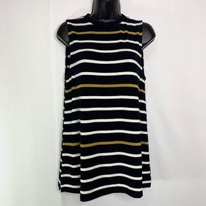Ann Taylor Navy Sleeveless Striped Sweater Size M
